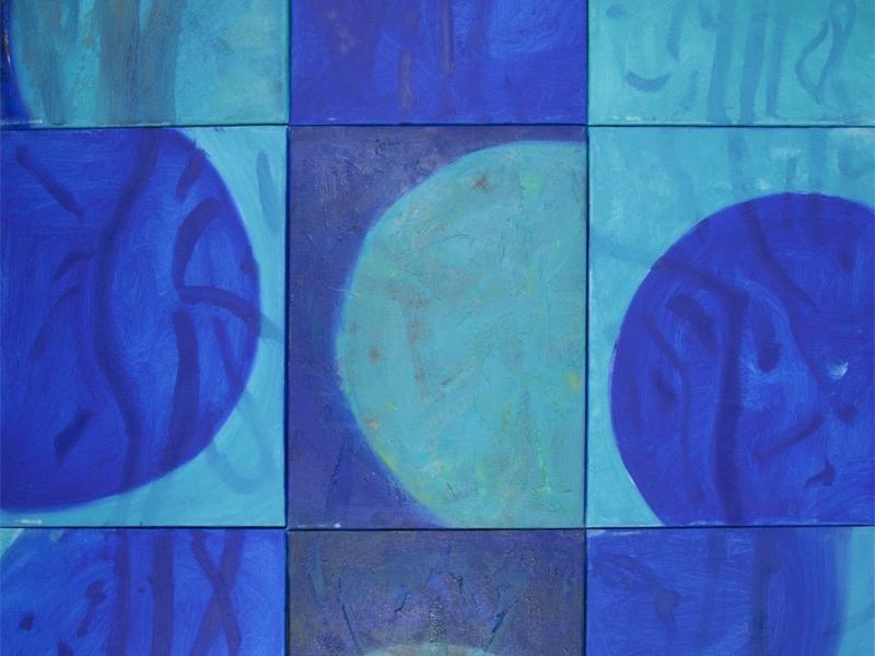 """mit """"blue moon I, III und IV"""" zu einer grossen Arbeit zusammenzufügen"""