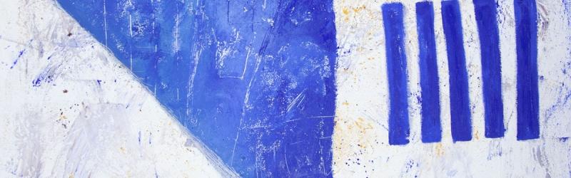 Die vorerst klaren Farben mischen sich im Vorder- und Hintergrund