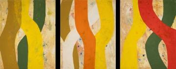 ...die Künstlerin arbeitet meist mit Ölfarben, die sie in vielen Schichten...